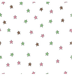 seamless pattern with coloured stars on white vector image