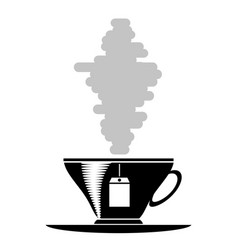 tea cup silhouette vector image vector image