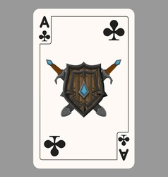 The ace of clubs playing card vector image vector image