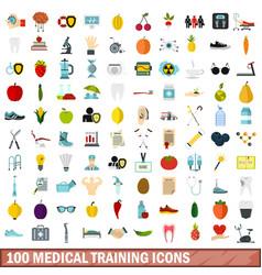 100 medical training icons set flat style vector