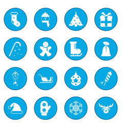 16 christmas icon blue vector image