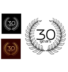 30 Years anniversary wreaths vector image