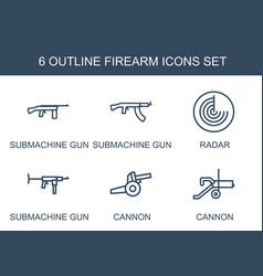6 firearm icons vector