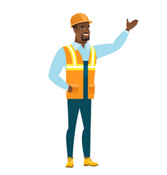 african-american builder showing a direction vector image