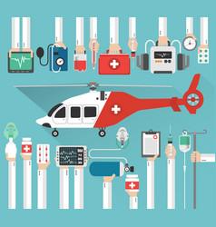 Ambulance helicopter medical flat design vector