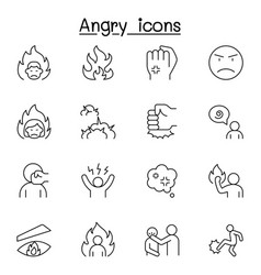 angry icon set in thin line style vector image