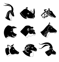 Animal heads silhouette icons vector