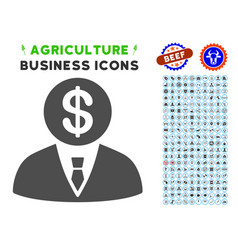 Banker icon with agriculture set vector