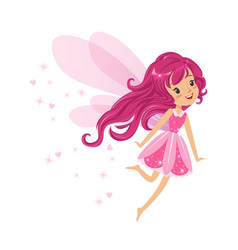 Beautiful smiling pink fairy girl flying colorful vector