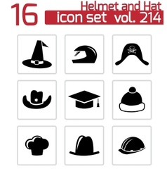 Black helmet and hat icons set vector