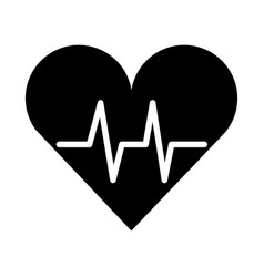 Black icon heart beat pulse vector