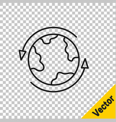 black line worldwide icon isolated on transparent vector image