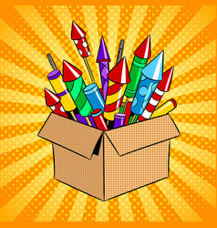 box with fireworks pop art vector image