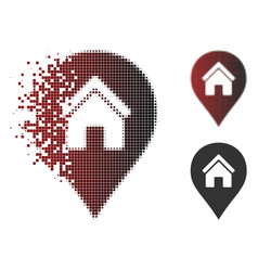 Broken dot halftone realty map marker icon vector