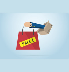 Business hand holding red bag with box vector