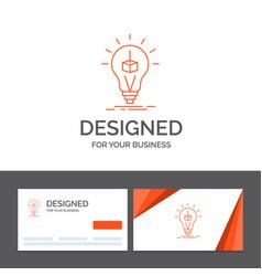 Business logo template for 3d cube idea bulb vector