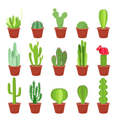Cactus icons in a flat style on a white background vector