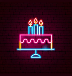 cake with candles neon sign vector image