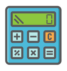 Calculate colorful line icon business calculator vector