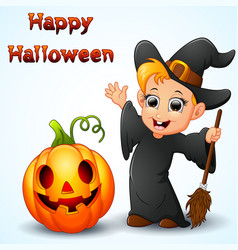 Cartoon little witch waving and pumpkin vector