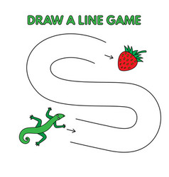 cartoon lizard draw a line game for kids vector image