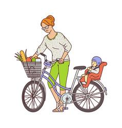 Cartoon mother standing near bike with groceries vector