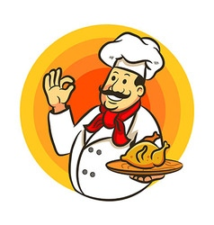 Chef cooking fried chicken and delicious sign vector