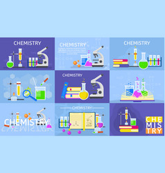 chemistry lab banner set flat style vector image