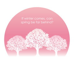 cherry blossom trees in full bloom with text space vector image