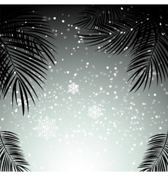 Christmas and New Year with Palm Leaves in vector