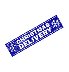 Christmas delivery scratched rectangle stamp seal vector