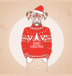 Christmas hipster fashion animal dog vector