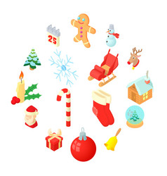 christmas icons set isometric 3d style vector image