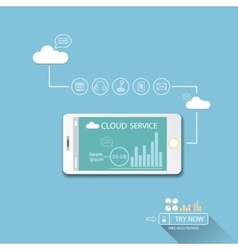 Cloud services mobile flat web infographic vector image