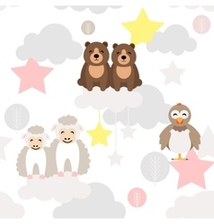 Cute animal kid seamless pattern Bear vector image