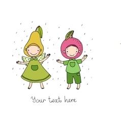 Cute cartoon apple and pear vector