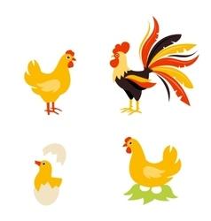 Cute Cartoon hen rooster and chicken baby vector