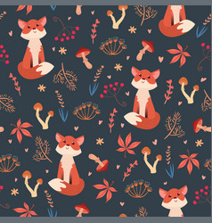 cute flat foxes seamless pattern vector image
