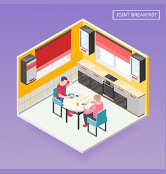 daily routine isometric composition vector image