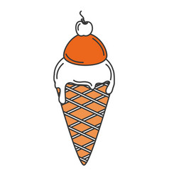 Delicious ice cream isolated icon vector