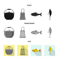 Design of fish and fishing sign collection vector
