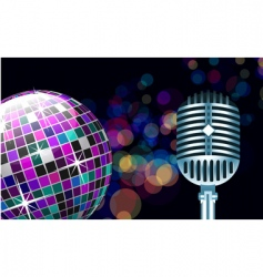 disco ball with microphone vector image vector image