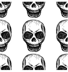eamless pattern skull on white background vector image