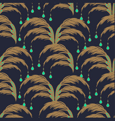 elegant leaves seamless pattern palm leaf vector image