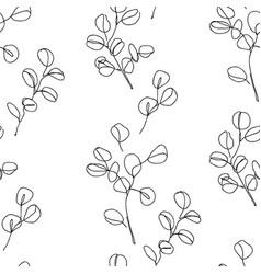 eucalyptus branches in modern single line art vector image