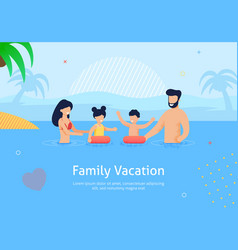 family summer vacation swimming in sea near palms vector image