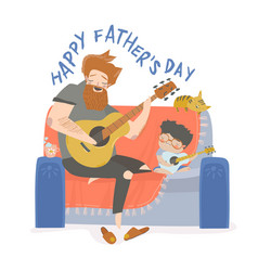 Father playing guitar vector