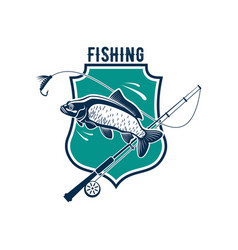 Fishing icon with carp fish rod tackle vector