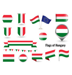 flag hungary big set icons and symbols vector image