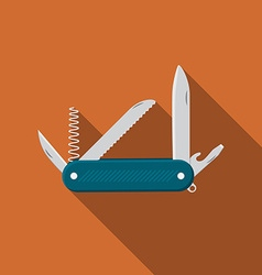 Flat design modern of multifunctional pocket knife vector image